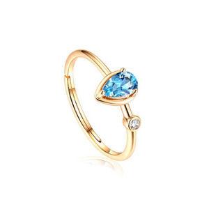 4x6mm Pear Swiss Blue Topaz Silver Bridal Ring